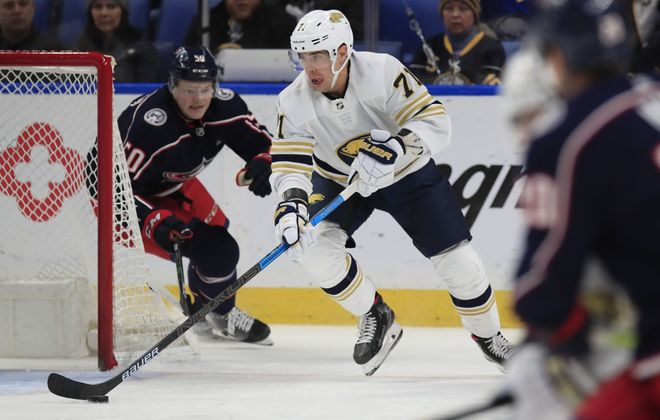 Buffalo Sabres forward Evan Rodrigues skates with the puck against the Columbus Blue Jackets during the first period at the KeyBank Center, on Thursday, Feb. 13, 2020. (Harry Scull Jr./Buffalo News)