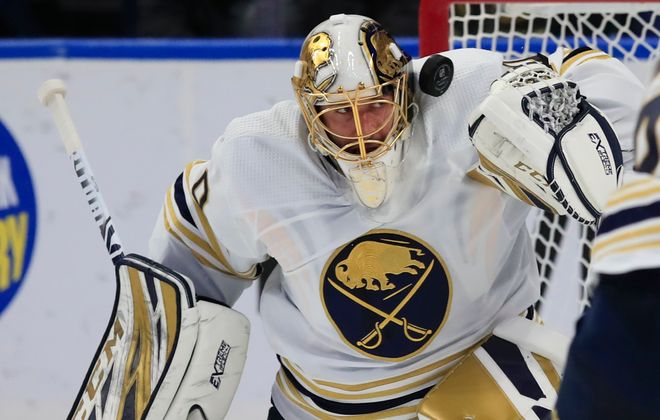 Carter Hutton has just an .835 save percentage this season when the Sabres are killing penalties (Harry Scull Jr./News file photo).