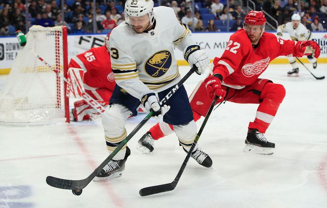 Buffalo Sabres forward Sam Reinhart controls the puck against the Detroit Red Wings during the first period at the KeyBank Center , on Thursday, Feb. 6, 2020. (Harry Scull Jr./Buffalo News)