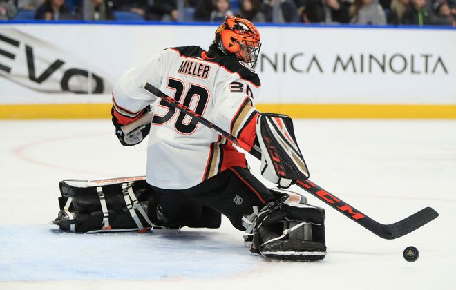 Anaheim Ducks goaltender Ryan Miller makes a save on the Buffalo Sabres during the first period at the KeyBank Center, on Sunday, Feb. 9, 2020. (Harry Scull Jr./Buffalo News)
