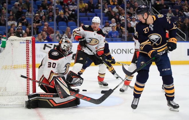 Buffalo Sabres forward Curtis Lazar is stopped by Anaheim Ducks goaltender Ryan Miller during the third period at the KeyBank Center, on Sunday, Feb. 9, 2020. (Harry Scull Jr./Buffalo News)