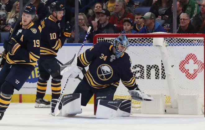 Sabres goaltender Jonas Johansson gets the start in goal. (James P. McCoy/Buffalo News)