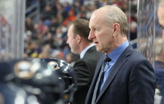 Buffalo Sabres Ralph Krueger directs the team from the bench  at KeyBank Center in Buffalo on Feb. 23. (James P. McCoy/News file photo)