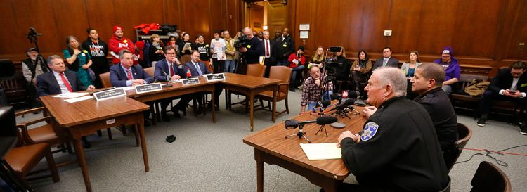 Erie County Sheriff Tim Howard and Chautauqua County Sheriff James B. Quattrone speak during a hearing on bail reform in the Mahoney Building in Buffalo on Feb. 6. (Mark Mulville/News file photo)