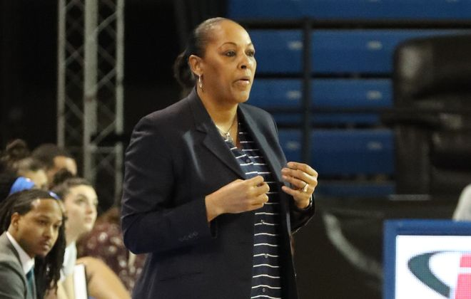 Buffalo Bulls head coach Felisha Legette-Jack calls in a play from the bench area in the first half at Alumni Arena. (James P. McCoy/Buffalo News file photo)