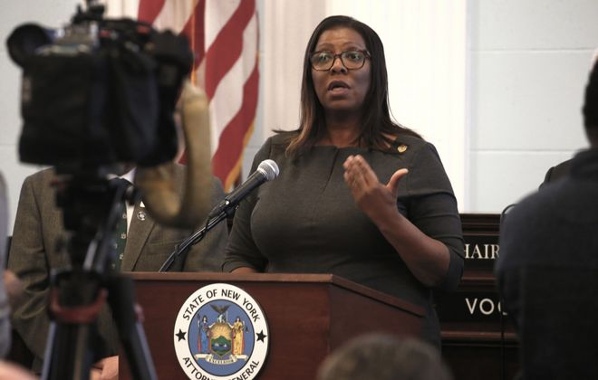New York State Attorney General Letitia James announces the state will halt efforts to collect on  state medical and student loan debts for the next 30 days due to the COVID-19 pandemic. (Robert Kirkham/News file photo)