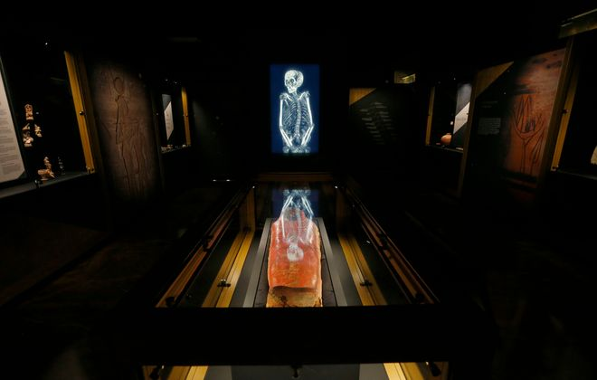 """A CT-scan of the mummy Artemidorus is part of """"The Golden Mummies of Egypt"""" exhibition at the Buffalo Museum of Science, which closed with the museum on March 14 due to Covid-19. The exhibit's future is uncertain. (Mark Mulville/Buffalo News)"""