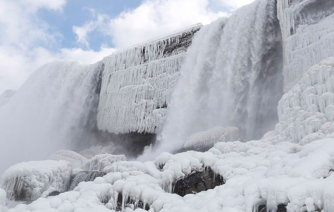 The Bridal Veil in winter, from the Cave of the Winds. (Sharon Cantillon/Buffalo News)
