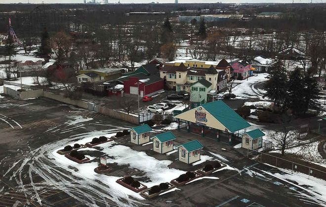 An aerial photo of Fantasy Island amusement park on Grand Island, whose owner announced its closure Wednesday. (John Hickey/Buffalo News)