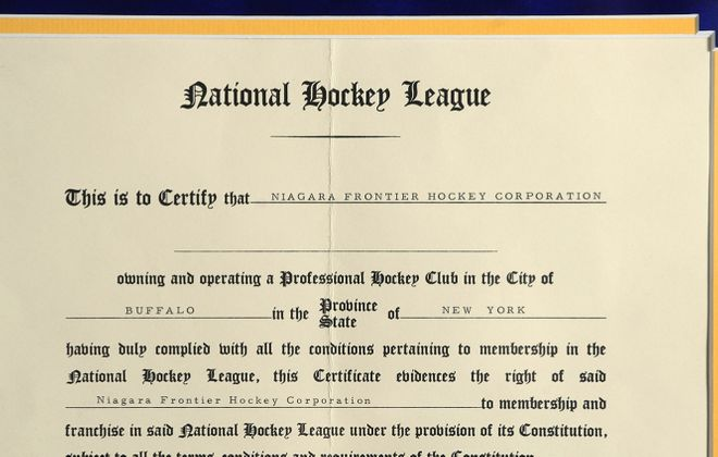 The original Sabres expansion certificate from 1970. The document is signed by former NHL president Clarence Campbell. (Harry Scull Jr./Buffalo News)