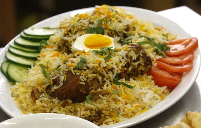 The chicken biryani from Robin's Kitchen at the Grant Street Bazaar. (Robert Kirkham/Buffalo News)