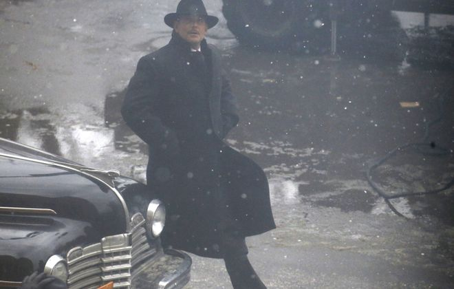 """Bradley Cooper during a scene in front of City Hall while shooting """"Nightmare Alley."""" (Robert Kirkham/Buffalo News)"""