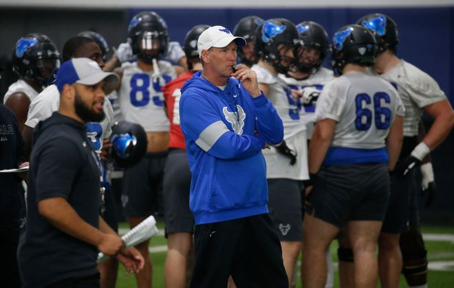 Coach Lance Leipold. University at Buffalo football spring practice inside the Murchie Family Fieldhouse at UB North in Amherst on Sunday, Feb. 23, 2020. (Robert Kirkham/Buffalo News)