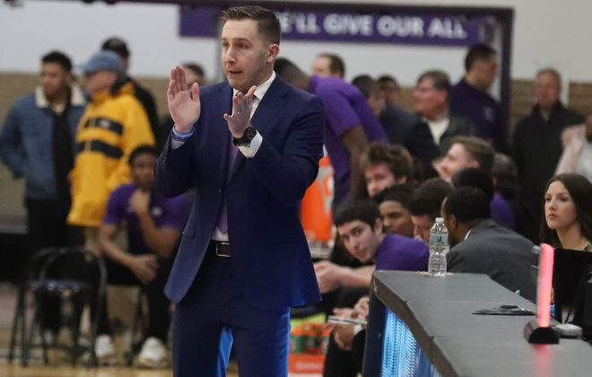 Niagara Purple Eagles head coach Greg Paulus cheers on his team battles Canisius Golden Griffins in the first half at Gallagher Center, Niagara University in Lewiston,N.Y. on Wednesday, Feb. 12, 2020. (James P. McCoy/Buffalo News)