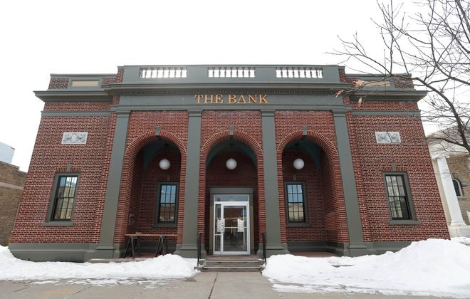 The Bank at 649 Main St. in East Aurora is the brainchild of developer Todd Stine and his wife Catherine Lundie, who restored a 1923 bank to its former luster. The event center is expected to open May 1.  (Sharon Cantillon/Buffalo News)