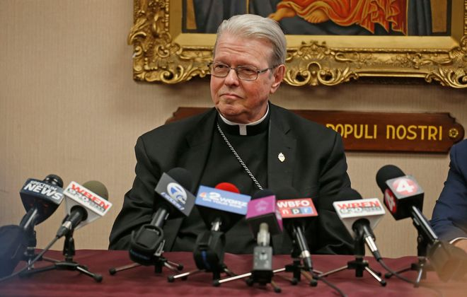 Bishop Edward Scharfenberger talks about the Buffalo Diocese's bankruptcy at a news conference on Feb. 28, 2020. (Robert Kirkham/Buffalo News)