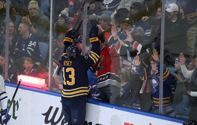 Buffalo Sabres left wing Jimmy Vesey (13) celebrates his goal in the third period at Key Bank Center in Buffalo,N.Y. on Sunday, Feb. 16, 2020. (James P. McCoy/Buffalo News)