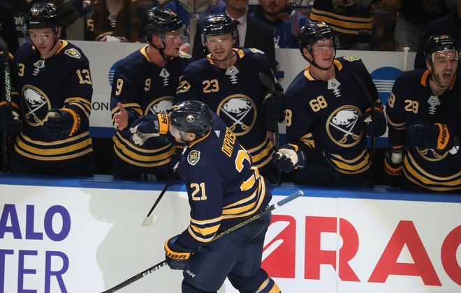 Buffalo Sabres right wing Kyle Okposo (21) celebrates his goal in the third period at KeyBank Center on Sunday, Feb. 16, 2020. (James P. McCoy/Buffalo News)