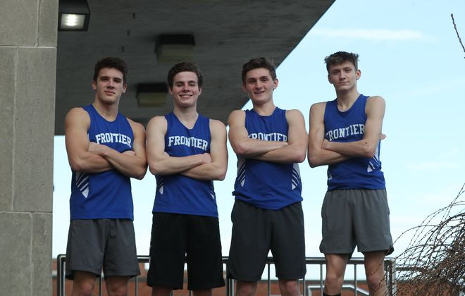 Frontier's 4x800 relay team of Brian Gleason, Preston Bova, Connor O'Brien and Josh Peron are headed to the Millrose Games in New York City this weekend after breaking the Section VI record. (James P. McCoy/Buffalo News)