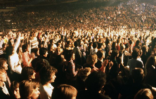 The Aud crowd is focused on the Who. (Mickey Osterreicher/Special to The News)