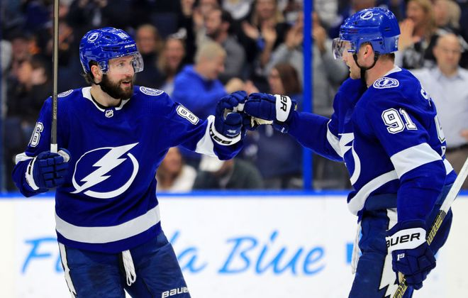 There have been plenty of celebrations the last three months for Nikita Kucherov, left, and Steven Stamkos of the Lightning. (Getty Images).