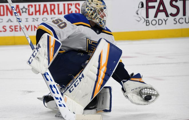 Blues goalie Jordan Binnington blanked the Devils and Coyotes in consecutive games (Getty Images).