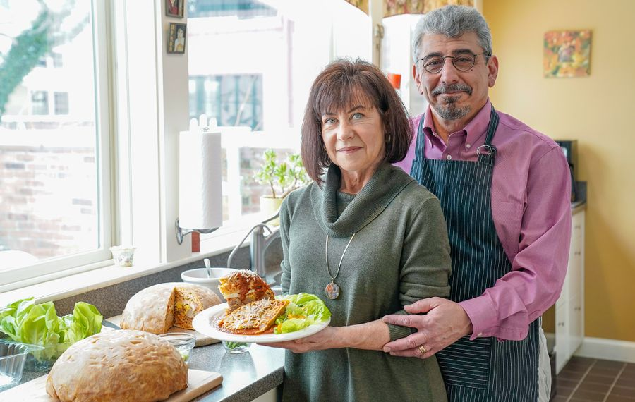 """Allentown residents Gary and Merry Constantino with their Timpano, inspired by the film """"Big Night."""" (Dave Jarosz)"""