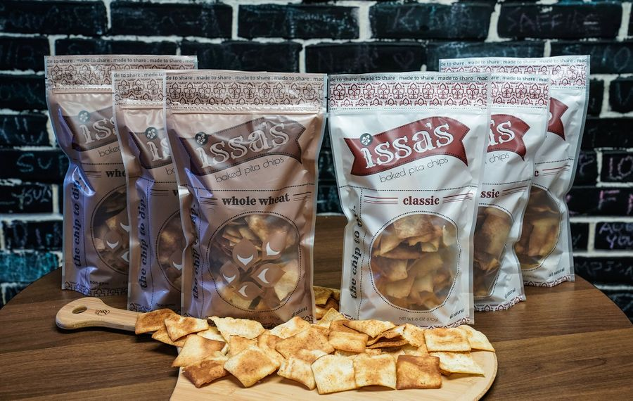 Made with a naturally vegan recipe, Issa's Pita Chips are produced at Cedars Bakery downtown. (Dave Jarosz)