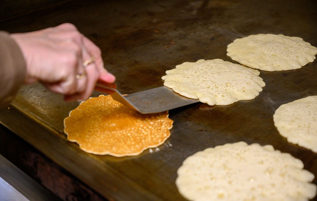 The pancakes at Moore's Maple Shack and Pancake House in Freedom, about an hour outside Buffalo, are light and thin, all the better for stacking and topping with their pure maple syrup. (Matt Weinberg)