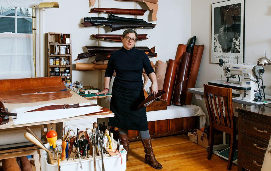 Christa Santa Maria in her Amherst studio. (Katie Addo)