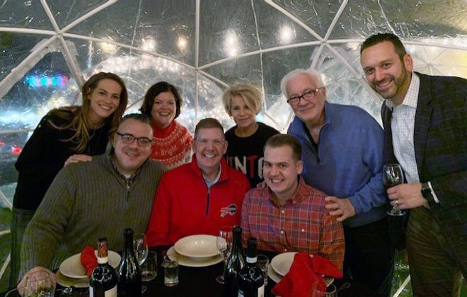 We couldn't have had a better group for our igloo adventure at Tappo: Karen and Charlie Fashana, Lori and Sean White, myself and Karen, and Patrick Kaler, president of Visit Buffalo Niagara, with Jonathan Orlow.