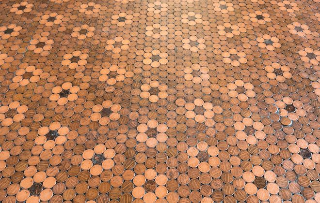 Tiles made from real pennies line the bank vault floor at the recently restored Bank of East Aurora, opening this April as an event venue and Airbnb. (Lindsay Sisting)