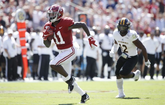 Henry Ruggs III of the Alabama Crimson Tide may be the fastest man at the NFL scouting combine. (Joe Robbins/Getty Images)