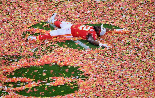 Defensive end Demone Harris celebrates after the Kansas City Chiefs won Super Bowl LIV. (Angela Weiss/AFP via Getty Images)