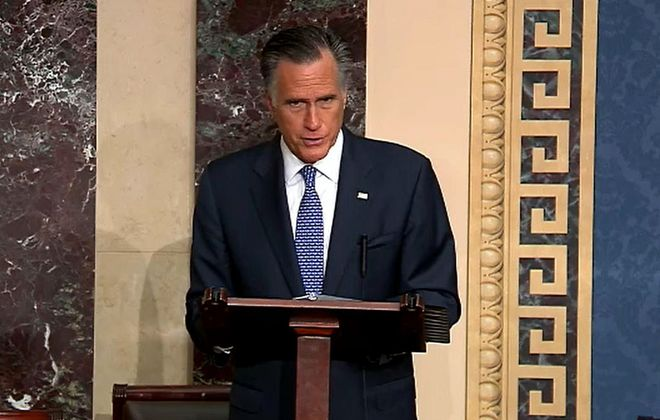 Sen. Mitt Romney (R-UT) talks about how his faith guided his deliberations on the articles of impeachment during proceedings against President Donald Trump in the Senate at the Capitol on Feb. 5, 2020. (Photo by Senate Television via Getty Images)