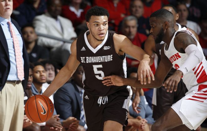 Jaren English (5) of St. Bonaventure Bonnies handles the ball while defended by Jalen Crutcher (10) of the Dayton Flyers at UD Arena on Jan. 22, 2020, in Dayton, Ohio. (Joe Robbins/Getty Images)