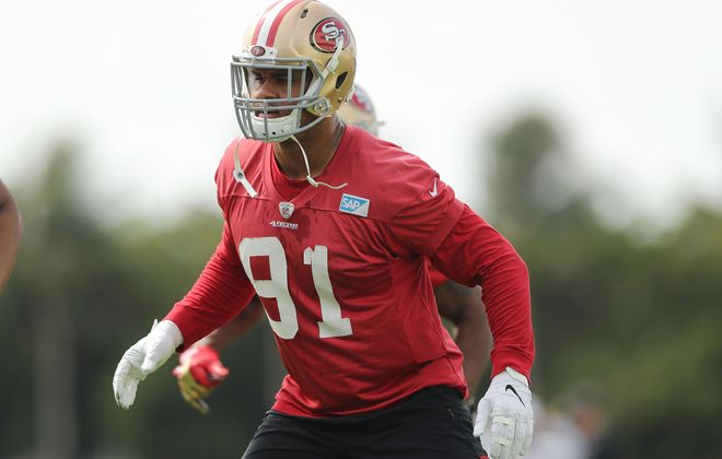 Arik Armstead of the San Francisco 49ers figures to get a big raise in free agency. (Michael Reaves/Getty Images file photo)