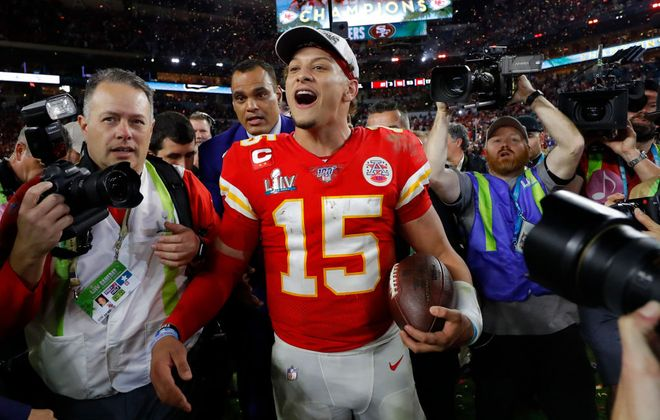 Quarterback Patrick Mahomes of the Kansas City Chiefs celebrates after defeating the San Francisco 49ers in Super Bowl LIV Sunday. (Getty Images)