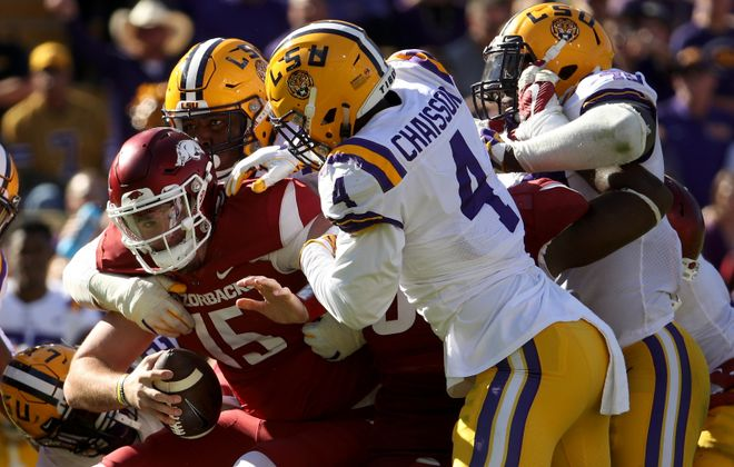 LSU's K'Lavon Chaisson could be an option for the Bills in the first round.(Chris Graythen/Getty Images)