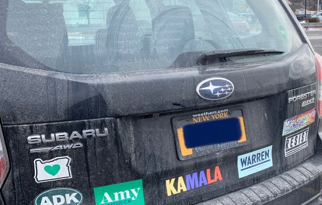 The bumper stickers on Emily Marcus' Subaru Forester SUV caused a stir on social media. (Image courtesy Emily Marcus)