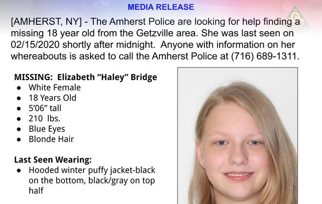 "Elizabeth ""Haley"" Bridge. (Image courtesy of the Amherst Police Department)"