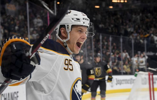 Dominik Kahun celebrates his first goal with the Sabres Friday in Vegas. (Getty Images)