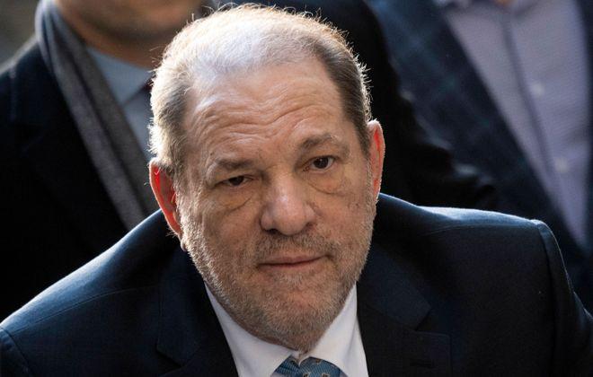 Harvey Weinstein arrives at the Manhattan Criminal Court on Feb. 24, 2020, in New York City. (Johannes Eisele/AFP via Getty Images)