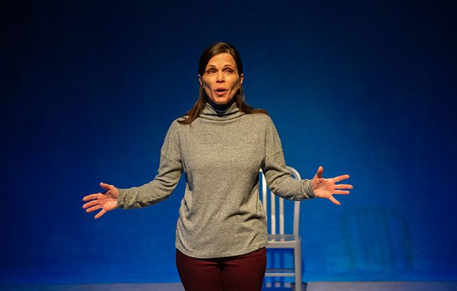 """Josie DiVincenzo does a remarkable job playing 40 characters in """"What I Thought I Knew,"""" presented by Jewish Repertory Theatre. (Photo by Ali Lewis)"""