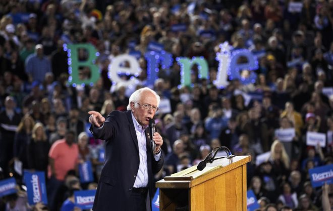Sen. Bernie Sanders speaks during a presidential primary campaign rally at the Tacoma Dome in Tacoma, Wash. Sanders' campaign is gathering steam heading toward Super Tuesday. (The New York Times)