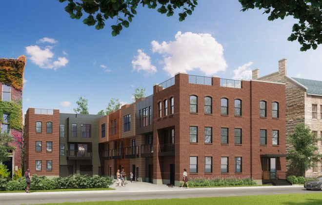An updated rendering of the plans for seven townhomes at 8 St. Louis Place.
