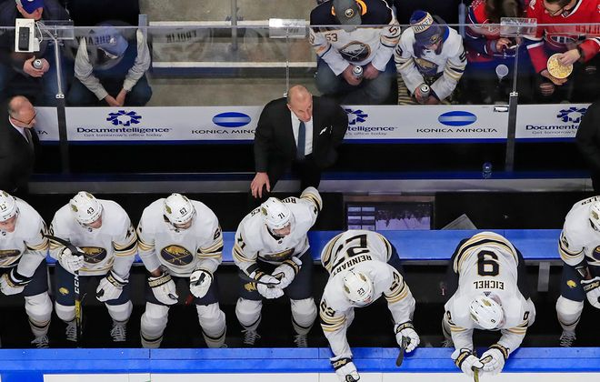 Buffalo Sabres coach Ralph Krueger looks on from the bench against the Montreal Canadiens during the second period at KeyBank Center on Jan. 30. (Harry Scull Jr./Buffalo News)