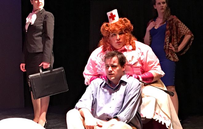 """Scotch and Madness"" at Alleyway Theatre is one of the many local theater productions forced to cancel performances in the wake of COVID-19. Pictured are Jaimee Harmon, Tim Goehrig, Nicolas Lama and Jamie Nable. (Photo courtesy of Neal Radice)"