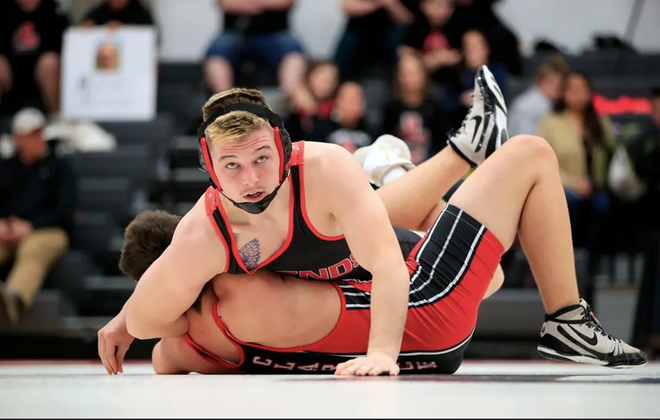 Ryan Stencel recently set Lancaster's all-time record with his 194th victory and is the top-ranked wrestler at 182 pounds in Section VI. (Harry Scull Jr./The Buffalo News)