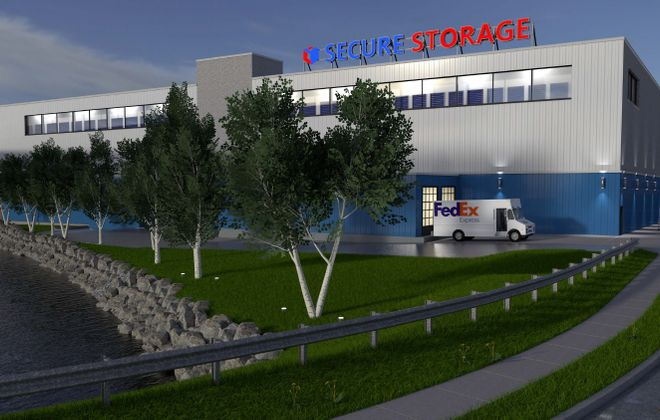 A rendering of the proposed Secure Storage facility in the former Fedders Radiator building at 31 Tonawanda St. (Image courtesy of Carmina Wood Morris DPC)